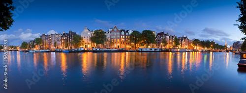 Foto op Aluminium Amsterdam Starry night, tranquil canal scene, Amsterdam, Holland