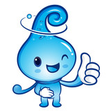 Water drop Mascot the hand best gesture. Nature Character Design