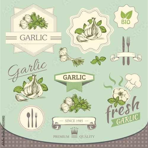 garlic spice, vegetables, product, label packaging design