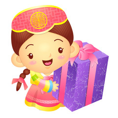 Girl Mascot the hand is holding a big box. Korea Traditional Cul