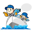 Father and son are holding fish. Work and Job Character Design S