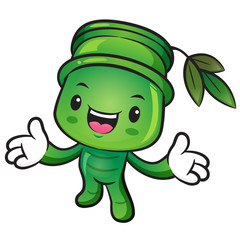Bamboo mascot the direction of pointing with both hands. Nature