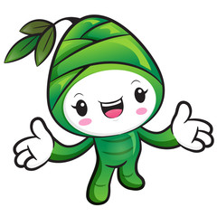 Bamboo shoot Character the direction of pointing with both hands