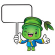 The Bamboo mascot holding a board. Nature Character Design Serie