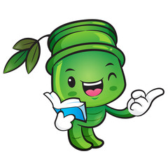 Bamboo Mascot the left hand best gesture and the right hand guid