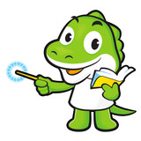 Dinosaur mascot the left hand guides and the right hand is holdi
