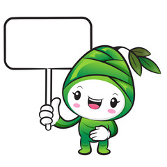The Bamboo shoot Character holding a board. Nature Character Des