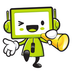 Television Mascot the hand is holding a loudspeaker. Appliances