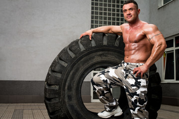 Bodybuilder Resting After Crossfit training