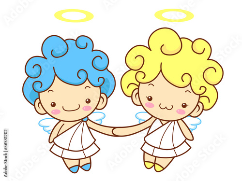 Cherub Mascot is a polite greeting. Angel Character Design Serie