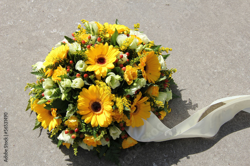 Yellow sympathy flowers
