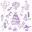 birthday party set vector  illustration