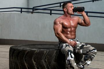 Bodybuilder Drinking