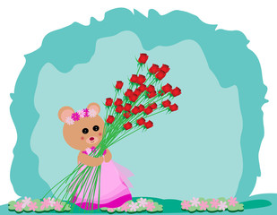 Teddy bear holding red rose