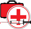 Medical syringe and first aid kit. Icon for design