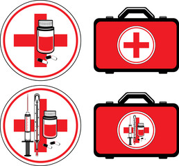 First aid kit and medical icons