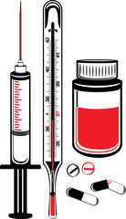 Medical thermometer, syringe and vial with pills