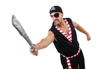 Man in pirate costume in halloween concept