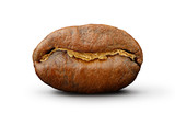 Fototapety Coffee bean on white background Path to isolation in file