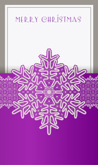 Beautiful Christmas card with lace vintage snowflake.
