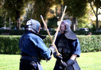 fight between martial arts warriors with mask on face and the wo