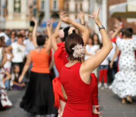 flamenco dancers expert and Spanish dance with period costumes