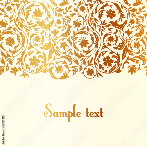 Vintage luxury beige with gold Floral background
