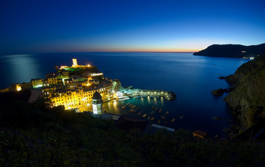 Vernazza fishing village by night, Cinque Terre, Italy