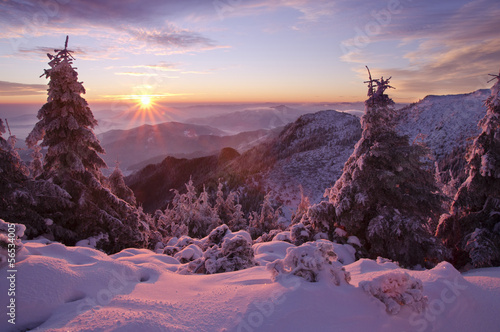 beautiful winter mountain sunset in Romania