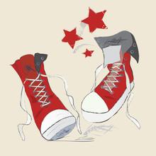 Chaussures de toile de croquis. Vector Graphic Pen Conception
