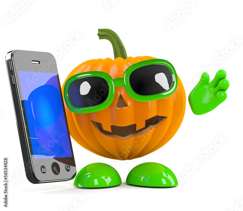 Pumpkin chats on a smartphone