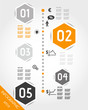 orange timeline with hexagonal business icons