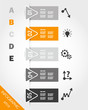 orange triangular infographic stickers with buttons and icons