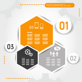 orange hexagonal infographic template with buttons