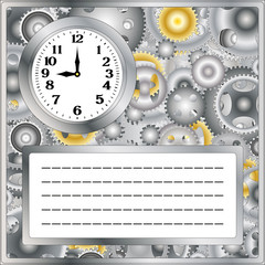background of the gears of a clock and place under text