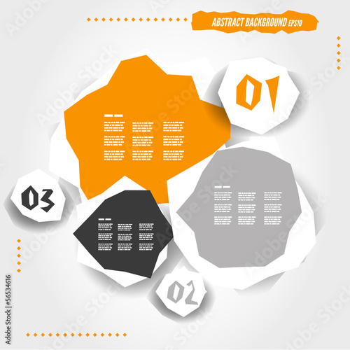 orange grunge infographic template with buttons
