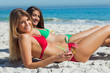 Cheerful tanned blonde and brunette taking sun drinking cocktail
