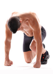 Hombre atleta deportista agotado.corredor.
