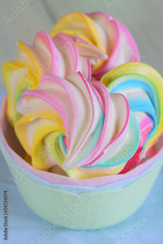 Colored meringues