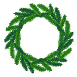traditional green christmas wreath isolated on white background. poster