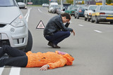 Fototapety accident. knocked down pedestrian
