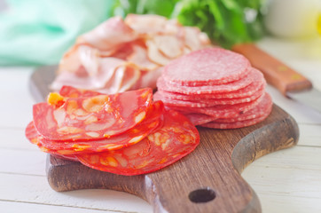 salami,ham and bacon on wooden board
