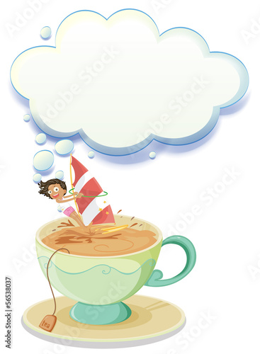 A girl sailing over a big cup of tea with an empty callout