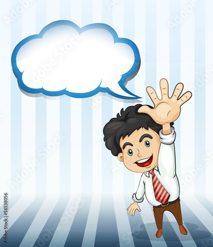 A smiling businessman with an empty cloud template
