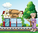 An old woman outside the massage spa parlor poster