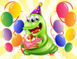 A happy monster surrounded with balloons