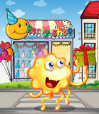 A monster in front of the party shop