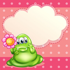A green monster holding a flower