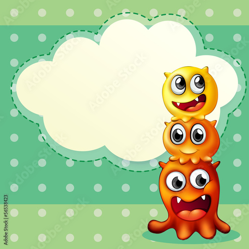 Three monsters playing in front of an empty cloud template