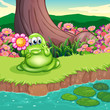 A green monster at the riverbank holding a flower